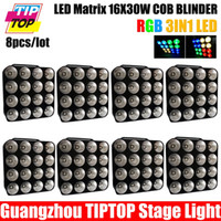 Atacado-grosso 8Pcs / Lot Led Matrix Bliner Luz 16 * 30W 3in1 COB DMX Led Matrix Bliner Stage Luz RGB de fundo de LED Luz de Palco