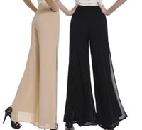Wholesale Wide Leg Orange - 2016 Hot SALE High Quality Fashion OL Temperament Women Chiffon Wide Leg Pants - Plus Size XS - 4XL Black White Khaki Trousers Send Gifts