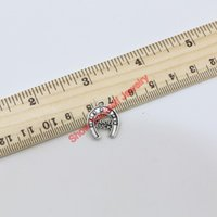 Wholesale Wholesale Handmade Goods - 21pcs Antique Silver Plated Animals Good Luck Stirrup Charms Pendants for Jewelry Making DIY Handmade 17x14mm C307 Jewelry making DIY