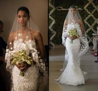 largos velos blancos al por mayor-ew Diseñador Long Chapel Tren Boda Blush Velos Tul Sheer Lace Edge Una capa Blanco Marfil Apliques Velos de novia
