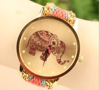 ingrosso le donne guardano l'elefante-New Fashion Orologio da polso Handmade Braided Elephant Friendship Bracelet Watch Orologi Donna Quarz Watches Colors Mix DM