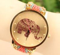 relógios de imitação venda por atacado-Nova moda relógio de pulso artesanal trançado elefante amizade pulseira de relógio relógios mulheres quarz relógios cores mix dm
