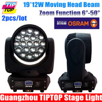 Atacado-Novo 2pcs Projetado / lot lâmpada OSRAM 19 * 12W RGBW 4IN1 LED Color Mixing Zoom Moving Head Wash Led DMX Moving Head 16channels TIPTOP