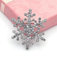 Wholesale Costume Fashion Christmas Jewelry - Frozen Crystal Rhinestone Snowflake Brooches Fashion Costume Pins Brooch Christmas gift jewelry Wedding Brooches Gold silver colors