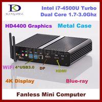 Wholesale Mini Fanless Desktop Pc - Wholesale-8G RAM+128G SSD+1T HDD,Fanless Intel mini desktop computer i7 4500U pc,Max 3.0Ghz,HTPC,4K DP,Intel HD4400 Graphics,300M WIFI