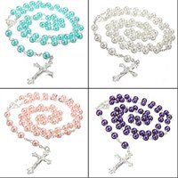 Wholesale Long Silver Pearl Cross Necklace - Wholesale-Best Quality Long Rosary Chain Imitate Pearl Ball Beads Beach Pendant Necklace Silver Drop Cross 5 Colors 5TOK