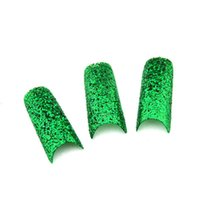 Wholesale Fake Nails Glitter - Wholesale-2015 New Acrylic 18 Colors for Choose False French Glitter fake nails Nail Art Tips Manicure 20pcs pack fashion false nails
