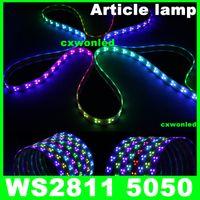 traumfarbe geführtes streifen ip67 großhandel-ws2811 IC 5050 digitales RGB-Streifenlicht, 90LED IP67-Röhre wasserdicht und IP20 nicht wasserdicht magische Traumfarbe 12V LED-Streifen, 90LED / m