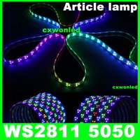 color de sueño led strip ip67 al por mayor-ws2811 IC 5050 luz de tira digital RGB, 90LED IP67 tubo impermeable y IP20 No impermeable color mágico sueño 12V tira llevada, 90LED / m