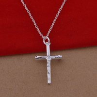 Wholesale Cross Necklace Korean - Trade -925 sterling silver necklace jewelry wholesale Korean version of popular human cross necklace large spot
