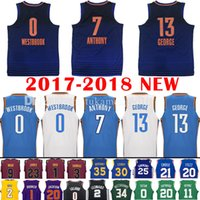 Wholesale Blue Anthony - 2017-18 New 7 Carmelo Anthony 13 Paul George Jersey 0 Russell Westbrook Men's 2018 Carmelo Anthony George Deep blue Jerseys Free Shipping