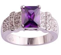 Wholesale Emerald Cut Amethyst Ring - Wholesale Exquisite Emerald Cut Purple Amethyst 925 Silver Ring Size 7 8 9 10 Women Jewelry Free Shipping