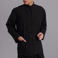 erkekler çince kung fu gömlekleri toptan satış-Erkekler Kurbağa Düğme Ceket Üst Gömlek Çin Kung Fu Dövüş sanatları Tai Chi Pamuk Yeni 047-4762 2016