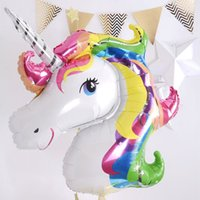 Wholesale Rainbow Heart Party - 7pcs Anagram Rainbow Unicorn helium Foil Balloons 18 inch star and heart balls theme baby Birthday wedding party decor supplies