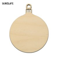 Wholesale wholesale xmas baubles - 60PCS Wooden Round Baubles Tags Christmas Balls Home Decorations Art Craft Ornaments DIY Xmas New Year Decor