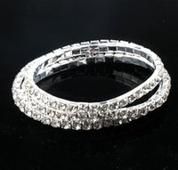 Wholesale Wholesale Row Ring - Clear Crystal Tennis Bracelets 36pcs lot 6styles 3length Silver Plated Spring 1-Row 2-row Line 40stones 42stones 44stones