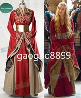 Wholesale sexy custom cosplay online - Game of Thrones TV Series Cosplay Cersei Lannister Vintage Gothic Prom Dresses Custom Make Long Sleeve Evening Formal Party Dresses