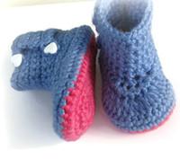 blaue babybeuten großhandel-2015 Art und Weisechet Mädchens Baby-Booties, rosafarbene und blaue Stiefel, Acrylgarn, 0 bis 12 Monate zuerst Wandererschuhe 16pairs / lot