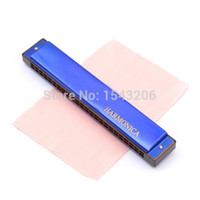 Wholesale Order Harmonicas - C - key Mouth Organ 24 Hole Double Tremolo Harmonica Music Funny Instrument Gifts Enjoy Music small order no tracking