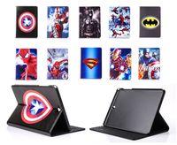 Wholesale Galaxy Tab Cartoon - Avengers Marvel Batman Captain America Spiderman Superman Cartoon Flip PU Leather Case Cover For Samsung Galaxy Tab A 8.0 T350 9.7 inch T550