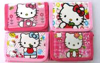 Wholesale Character Kitty - 36pcs lot Hello Kitty Cat Kids cartoon folding coin wallets purse child girl wallets Free Shipping