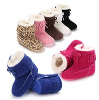 Wholesale purple infant boots for sale - Group buy Kids winter Shoes infant Bow snow Boots cotton Girls boys Fashion Leopard tassel Boots Baby First Walkers