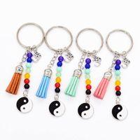 Wholesale Power Zinc - 4 Colors Yinyang Power Yoga Reiki 7 Chakra Bead Keychain Key Rings Fashion Jewelry for Women Drop Shipping