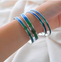 Wholesale China Sport Women Brand - (12 pieces lot) New 2015 Brand Mood Bangle Bracelet For Women girls Emotion Felling Mood Color Changeable Gift