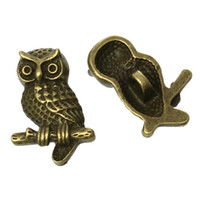 "Wholesale Antique Shank Buttons - Zinc metal alloy Shank Button Metal Buttons Owl Antique Bronze Single Hole 22.0mm( 7 8"")x 15.0mm( 5 8""),2 PCs 2015 new"