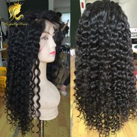 Wholesale french deep wave human hair for sale - Group buy Deep Curly Lace Front Human Hair Wigs For Black Women Pre Plucked X4 Brazilian Remy Hair Curl Wig Bleached Knot Wig Riya Hair