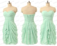 Wholesale Real Feather Brooch - Mint 2018 Bridesmaid Dresses Cheap Real Image Homecoming Dresses Ruffle Sweetheart Neck Plus Size Lace Up Back Chiffon Formal Party Gowns