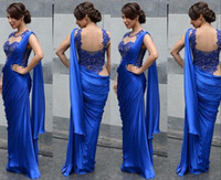 Wholesale Saree Laces - Applique Saree Dress Evening Dresses O Neck Sleeveless Mermaid Floor Length Sheer Backless Vestidos De Pleats Chiffon Evening Gowns