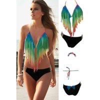 2017 New Womans Steigung Farbe Sommer Strand Boho Quaste Fringe Bikini Top + Bottom Halter Sexy Retro Vintage Push Up Bademode