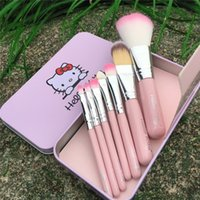 Wholesale brushes black iron for sale - 2015 hot Hello Kitty Make Up Cosmetic Brush Kit Hello kitty Makeup Brushes Pink and black Iron Case set DHL