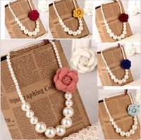Wholesale pearl necklace brooch - 2015 Kids girls Pearls Necklace +3D flower brooch SDB522 Baby girl princess jewelry babies fashion accessories