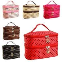 Wholesale Double Layer Box - Double Layer Small Dots Makeup Cosmetic Make Up Organizer Bag Box Case Women Men Casual Travel Multi Functional Tool Storage Handbag SPO2022