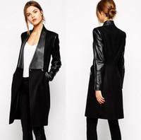 bayanlar uzun siyah deri ceket toptan satış-Kış ceket Kadınlar gagaopt PU deri uzun ceket Avrupa tarzı kadın bayanlar kadınlar için kış coat Siyah rüzgarlık kadınlar giysi