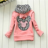 Wholesale Kids Neck Chokers - Autumn Winter Children Base Shirt Thicken Fleece Choker Cartoon Leopard Girls Sweatshirt Top T Shirt Baby Kids Undershirt QS559