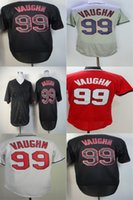 Factory Outlet Cleveland Custom Men Womens Kids Toddlers 99 Ricky Vaughn Red Black Grey Flex Base Cool Base Stitched Logos Baseball Jerseys