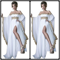 Wholesale Plus Size Kaftan Dresses - 2016 Arabic Style Long Sleeve Gold Lace and White Appliques Chiffon Abaya Kaftan Evening Prom Dresses With High Slit Women Gowns