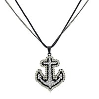 Wholesale Create Charm Necklace - New Charming Women Created Diamond Crystal Necklaces 2016 New Hot Anchor Pendant Necklace For Party Girl Gift Jewelry