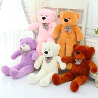 "Wholesale Big White Teddy - Wholesale-140cm Bear Skin Giant Teddy Bear Stuffed Animal Plush Soft Toys Valentine Christmas Birthday Gift 47"" Huge Big Bear Doll"