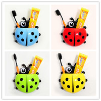 Wholesale Suction Hook Wholesale - 4 colors Cute Ladybug Cartoon Sucker Toothbrush Holder suction hooks Household Items toothbrush rack bathroom set
