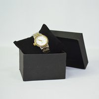 cajas de regalo de terciopelo para embalaje. al por mayor-2019 limitada 5 unids cajas de regalo de embalaje de la joyería caja de almacenamiento del reloj con terciopelo negro almohada almohada brazalete de la exhibición titular de la caja