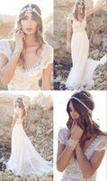 Wholesale China Gowns Online - 2016 Beach Vintage Romantic Bohemian Wedding Dresses From China Crystal Online Cap Sleeve v-Neck Bridal Gowns