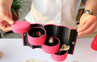 Wholesale Wholesale Travel Jewelry Box - Bundle Monster 3 Tier Compartment Mini Velvet Travel Roll Up Jewelry Box Case Organizer Holder good quality