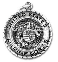 Wholesale Marine Badge - 30Pcs Lot classic antique silver plated US marine corps badge charms