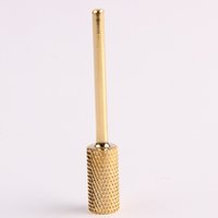 Wholesale Carbide Nail Drill - Wholesale-1 Pc Durable Efficient Cylinder Cylindrical Bit Sanding Carbide Nail Drill Golden Color Manicure Hot Gift