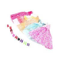Wholesale Doll Clothes For Barbies - 1Set=5Pcs Handmade Princess Party Gown Dresses Clothes+10 Shoes For Barbie doll High Quality