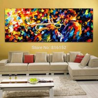 Wholesale Blue Wall Decor Art Canvas - Midmight Blues Soul Trumpet Play Palette Knife Oil Painting Picture Printed On Canvas For Home Office Hotel Wall Art Decor